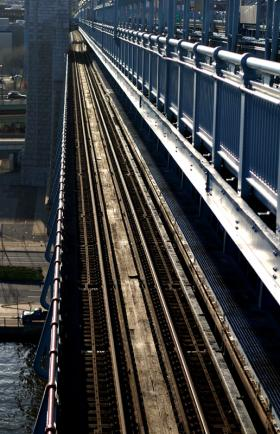 SEPTA tracks on the Ben Franklin Bridge.