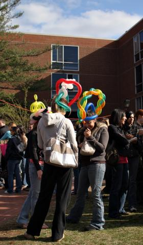 "Hot Dog Day @ Rutgers - ""Tee hee, guess what you have on your head?"""